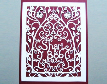 Custom Wedding Gift Paper Cut Art Anniversary Personalized Silhouette Handmade Papercutting