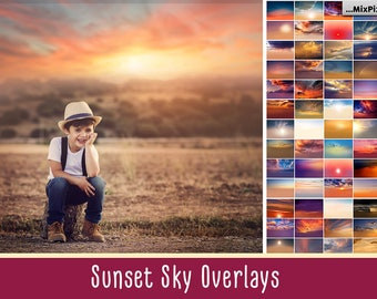 Sunset Sky Photo Overlays, sunset, clouds, photoshop, sunset, texture, dramatic,overlay, realistic, sky, nature sky, bundle, sky overlays