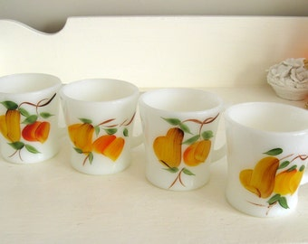 Fire King Gay Fad D Handle Mugs Set of 4, Fruit, Coffee Cup, Epsteam. Peaches, Pears