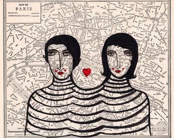 French Connection-Paris Map, Francophile, France Print, France, Paris
