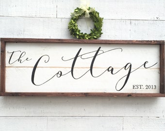 Cottage Sign, vintage Home Decor