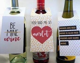 PRINTABLE Valentine Wine Bottle Tags, Galentine, Wine Gift Tag
