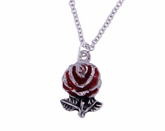 Rose pendant with red enamel  Pendant Necklace- Made and Design in UK