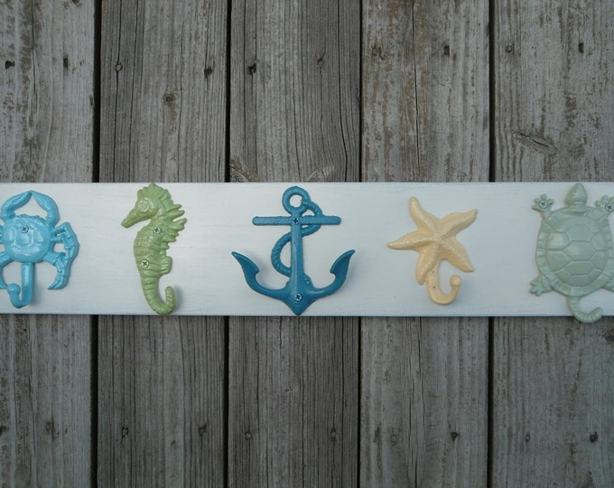 Outdoor beach towel hooks mud room  shower pool rack hot tub Nautical coastal decor 8 UNmounted hooks mermaid anchor cleat BeachHouseDreams