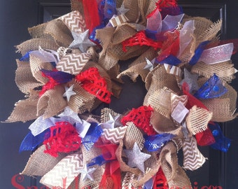 Patriotic Burlap Wreath 4th of July Wreath Red White & Blue Wreath Summer Wreath Patriotic Home Decor Front Door Summer Wreath