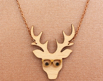 Wooden nerdy stag necklace  - Lasercut pendant - stag with glasses - Wooden jewellery - wooden jewelry - stag jewellery