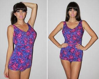Vintage 60s PIN UP One Piece Bathing Suit / BOMBSHELL Swimsuit / Hard Cups, Bullet Bra / Purple, Pink Watercolor / Square Leg / Large Bust
