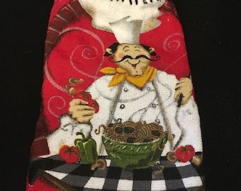 Red Happy Chef Double Sided Kitchen Hand Towel Black 1