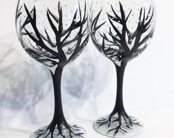 Snowy Winter Tree Wine Glasses