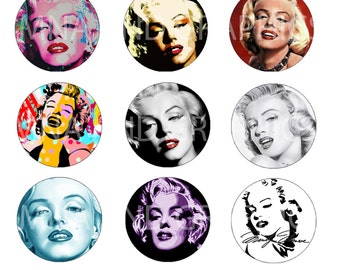 Marilyn Monroe IMAGES 1 inch round Bottle Cap Images  - Marilyn Monroe  bottlecap images - round Images -  4x6 inch format