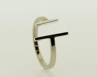 Silver Bar Ring, Modern Ring, Bar Ring, Silver Ring, Open Ring, Simple Ring, Line Ring, Silver Jewellery, Handmade Silver Ring, Silver Bar