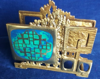 1970s brass and enamel letter or napkin holder by Abada Israel