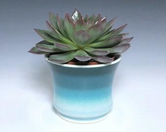 "Teal Succulent Planter, Small Ceramic Planter, Porcelain Plant Holder, Teal Indoor Planter, Pottery Planter With 3"" Removable Plastic Pot"