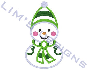 "Cute Snowman - applique machine embroidery design- 3 sizes 4x4"", 5x7"", 6x10"""