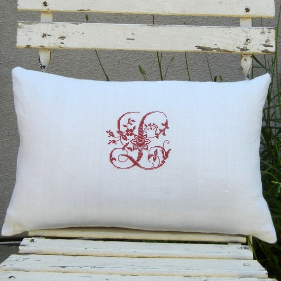 Linen Monogram Throw Pillow: French Monogrammed Antique Linen Decorative Pillow