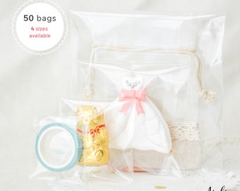50 Crystal Clear Food Grade Cookie Small Self Adhesive Resealable Plastic Bags - Gift Soap Candy Treat Favor Goodie Gift Packaging Bags
