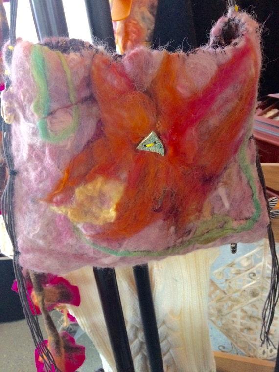 Handmade Wet Felted Purse Handbag made by Makana Art Studio!
