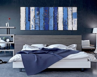"Strip"" 60 x 24"" Painting XL FREE SHIP Acrylic Abstract Original by Bo Kravchenko Modern Contemporary Home & Living Gift Blue White"