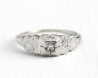 Vintage Diamond Ring - Antique 18k White Gold Art Deco .03 CT Diamond - 1930 Size 6 Filigree Fine Engagement Bridal Etched Jewelry