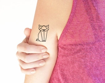 Geometric cat - Temporary tattoo (Set of 2)