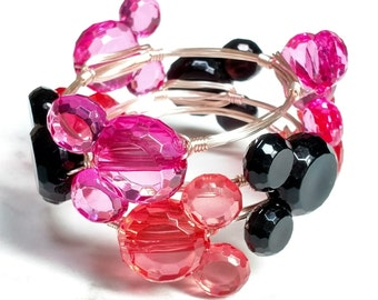 Mickey/Minnie Mouse Wire Wrapped Charm Candy Bangle Bracelet