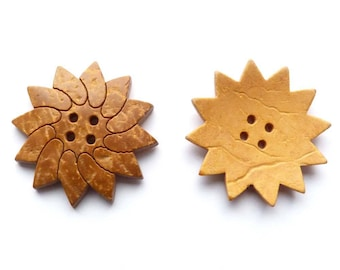 10 button wood coconut painted Sun yellow brown severe pointed flowers 4 holes - 3.3 cm
