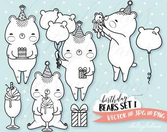 Birthday Digital Stamp Set, Bears Vector Digi Stamps, Kawaii Graphics Instant Download, Commercial Use, Party Invitation, Cute, Milkshake