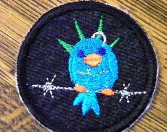 Punk Bird on a Barbed Wire Iron on Patch / Merit Badge