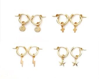 Small Hoop Charm Earrings, Cross Earrings, Seashell Earrings, Star Earrings