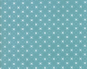 Nest Fabric by Lella Boutiquee for Moda, #5065-16, Pond, Dark Turquoise, Dark Blue with light blue X - IN STOCK