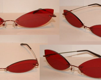 Red cosplay glasses slim cat like costume accessory V1