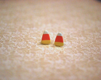Tiny Candy Corn Earrings -- Candy Corn Studs, Halloween Earrings, Teeny Tiny Candy Corn Studs