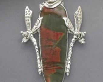 Jasper stone with dragonflys