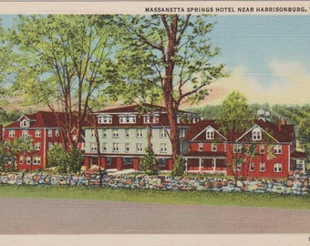 Antique Linen Massanetta Springs Hotel Postcard, Harrisonburg Virginia Postcard, Vintage Postcard, Ephemera, Historical Card, Postcrossing