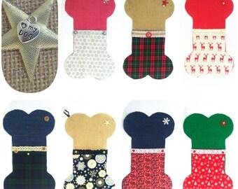 Dog. Fabric. Christmas. Stocking. Personalised. Bone. Pooch. Toy. Luxury. Hessian. Vintage. Style. Customised.
