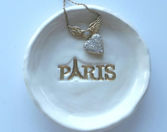 Ring Dish Paris Trinket Dish Ceramic with Gold Wedding Dish Ring Dish Home Decor In Stock ready to Ship