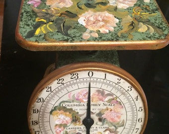 Early 1900s Handpainted Columbia family scale 24 pound/landers ,ferry ,and Clark scale/