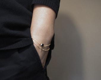black onyx charm bracelet, onyx charm bracelet with sterling silver chain, black onyx charm with 14k gold chain, dainty jewelry