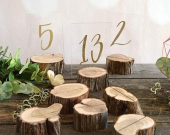 10 Log Table Number Holders ~ Rustic Wedding Table Numbers ~ (TN2001)