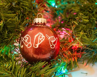 PERSONALIZED American Sign Language Glitter Ornaments
