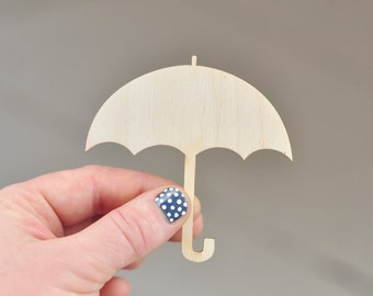 Little wooden umbrella - 8cm - natural wood -  ready to decorate - unpainted - unfinished - make your own fridge magnet - DIY