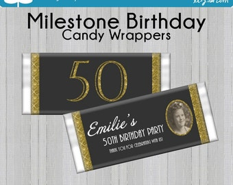 MILESTONE Birthday Party Favors Hershey's Candy Bar Wrappers With Photo Printable DIY
