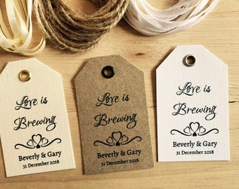Personalised Wedding LOVE IS BREWING Favour Tags -Vintage Kraft/White/Ivory 3