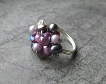 Purple Haze Cocktail RING- freshwater pearls, swarovski