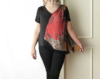 Asymmetrical Carole Little top, recycled repurposed, rayon drape top, vintage Carole Little, one of a kind, black, v neck, upcycled, red