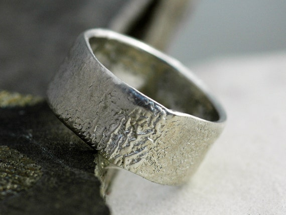 Reticulated Wide-Band Sterling Silver Ring- Custom Made