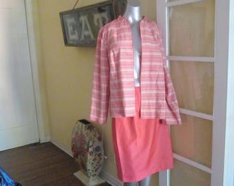 Vintage Plus Size Jacket Skirt Suit Pink Salmon White 20W Sheri Martin New York Woman