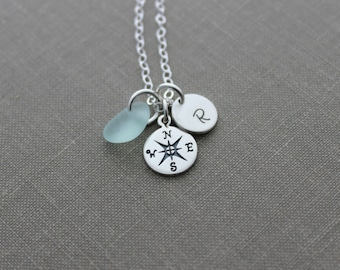 Sterling Silver Compass necklace, genuine Sea Glass, personalized mini initial,  Beach Jewelry, Graduation gift idea travel - wanderer