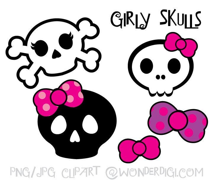skulls clipart girlie skulls clip art kids party clipart rh etsystudio com girly clipart images girly clipart black and white