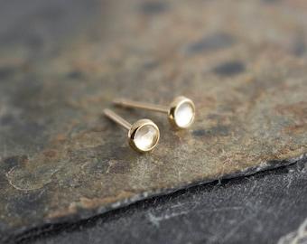 White Topaz Stone Gold Studs, Dainty Earrings, Minimalist Earrings, Stud Earrings, Gold Studs, Handmade Earrings, Tiny Earrings 3mm